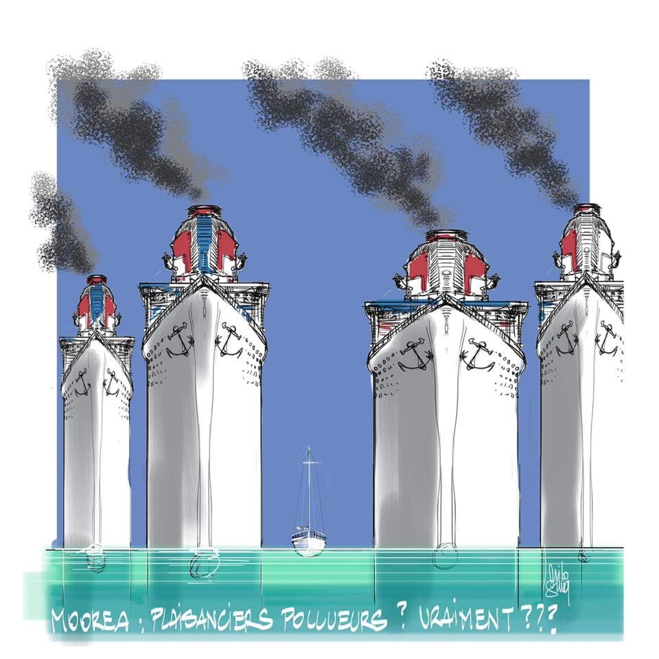 Dessin de Nilo Gima : Moorea plaisanciers pollueurs vraiment ?